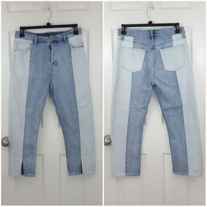 Gap Denim Two Tone Button fly Split Hem Crop Jeans